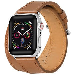 Brown Double Wrap Leather Apple Watch Band